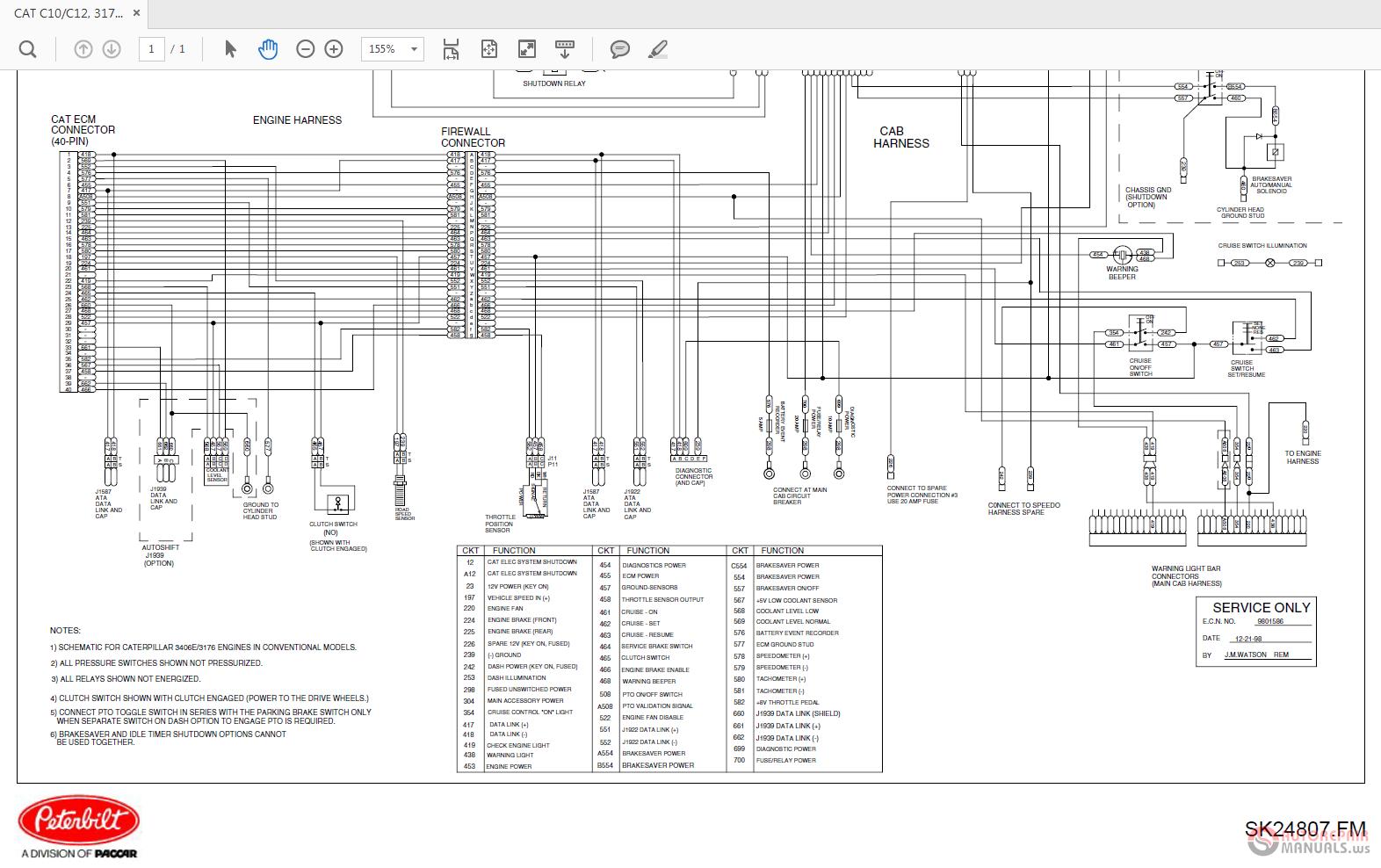 peterbilt-cat c10-12 3176b 3406b sk24807 engine schematic