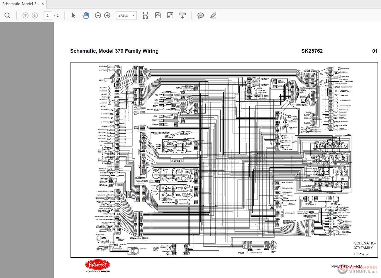 peterbilt 379 sk25762 family wiring diagrams | auto repair manual forum -  heavy equipment forums - download repair & workshop manual  autorepairmanuals.ws
