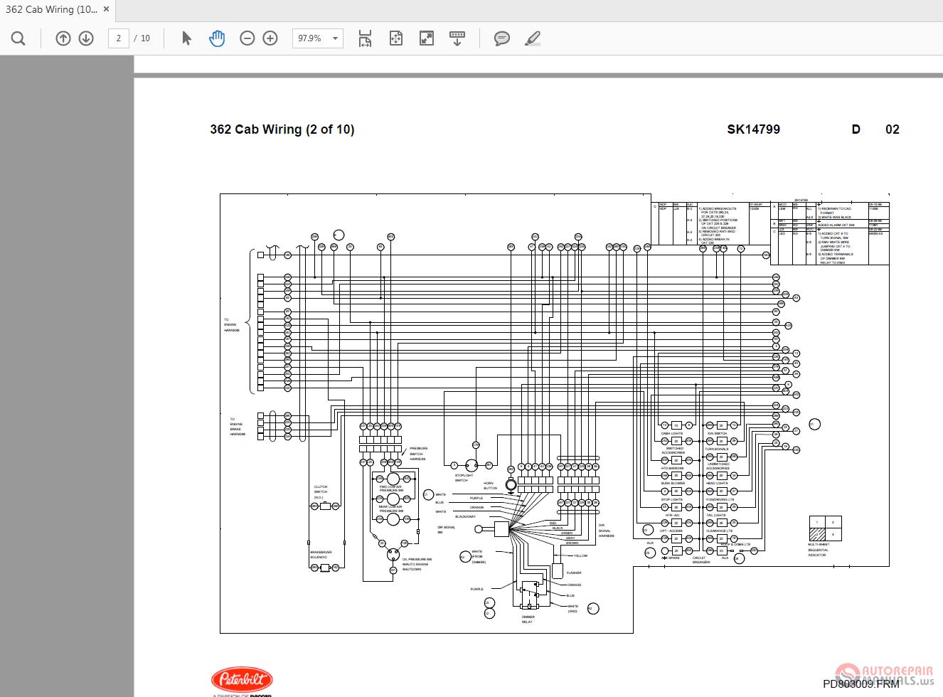 Peterbilt Pb362 Sk14799 Cab Wiring Diagrams