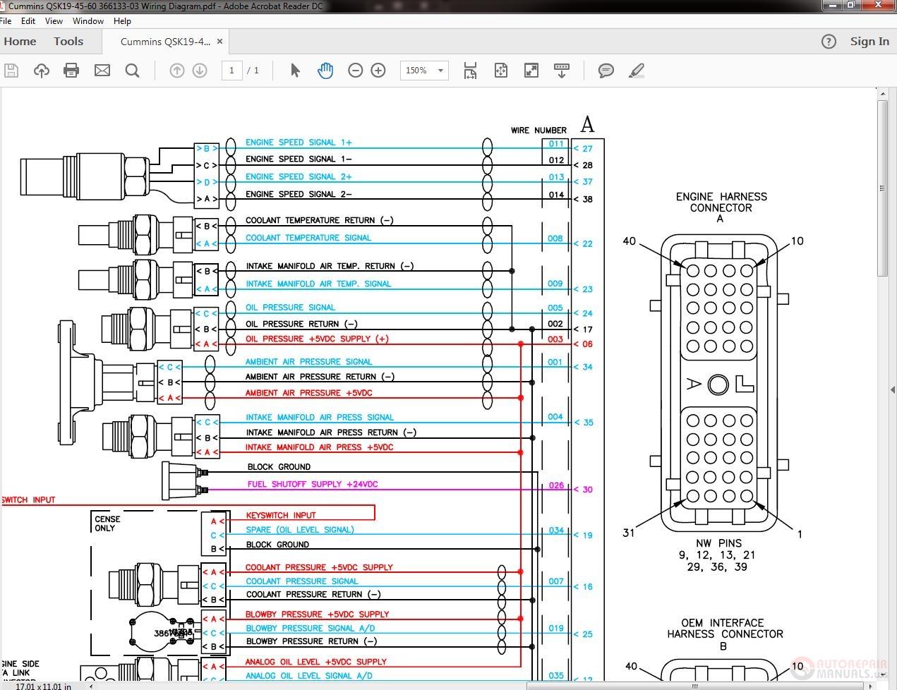 Cummins Qsk19-45-60 366133-03 Wiring Diagram