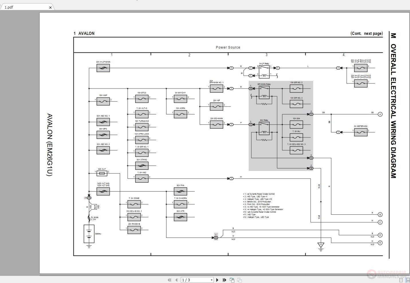 toyota avalon 2015-2018 electrical wiring diagram | auto repair manual  forum - heavy equipment forums - download repair & workshop manual  auto repair manual forum