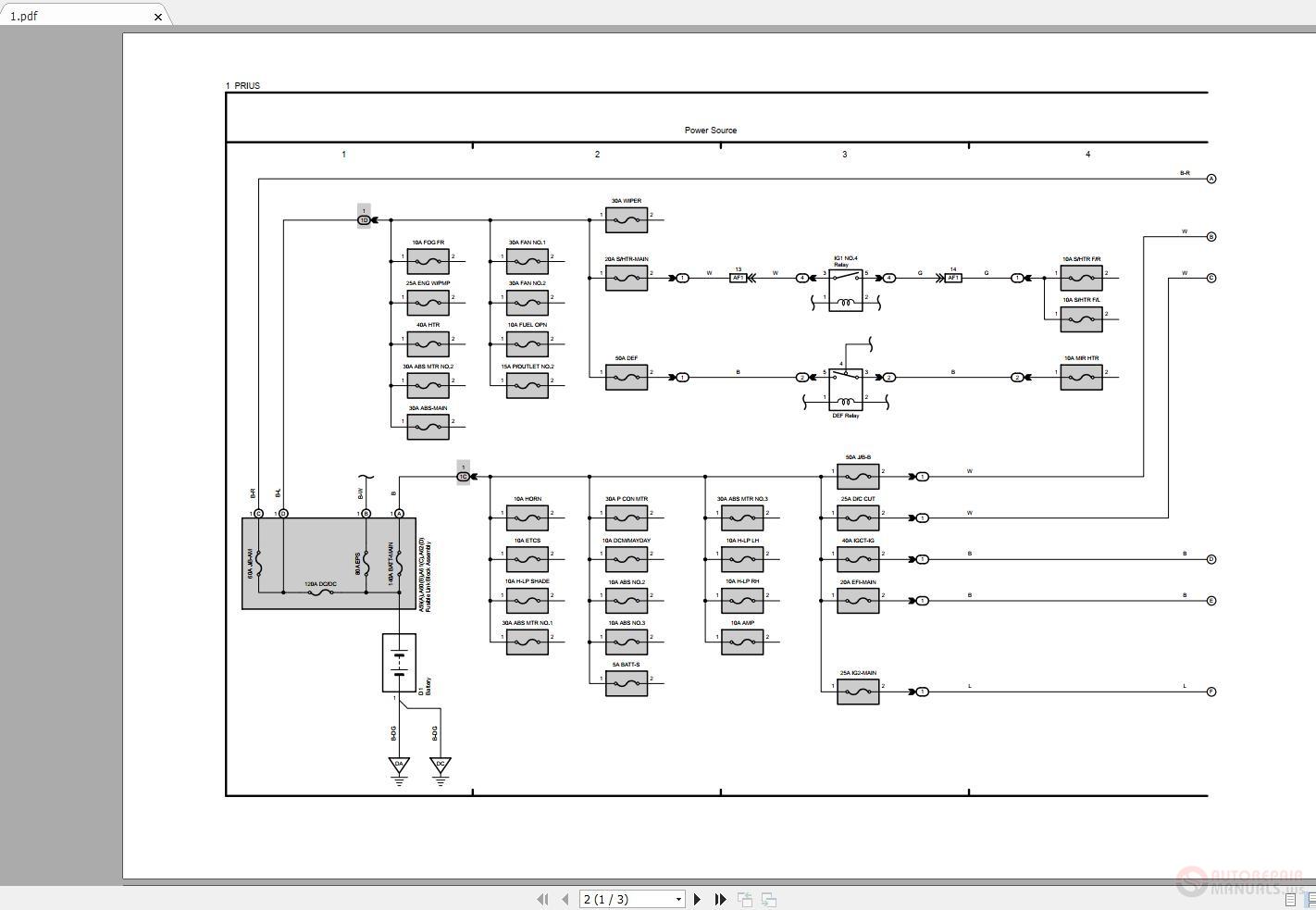 Toyota Prius 2016-2018 Electrical Wiring Diagram