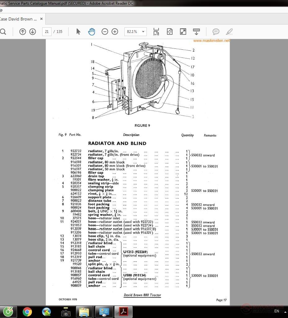 Case David Brown 880 Selectamatic Service Parts Catalogue