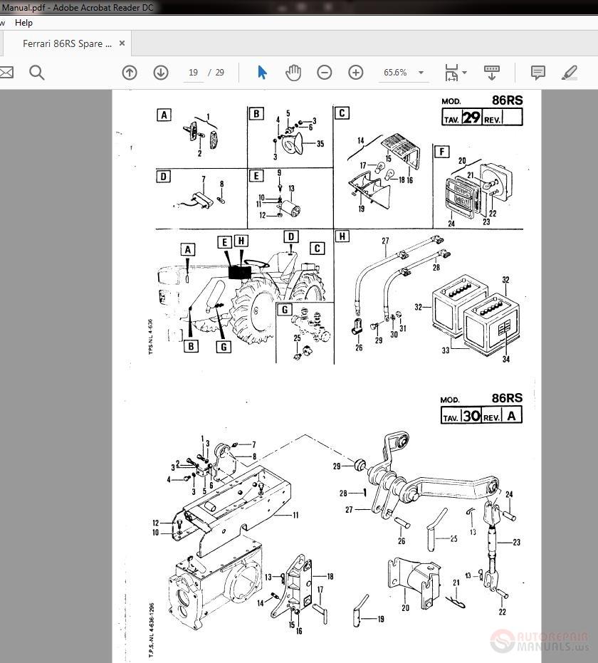 Ferrari Repair Manuals: Ferrari 86RS Spare Parts Manual