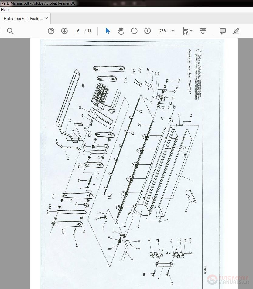 Hatzenbichler Exaktor 1-4m Parts Manual