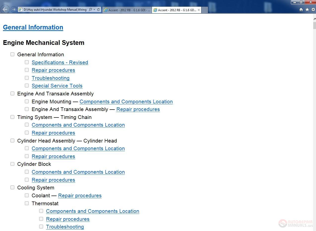 2012 Hyundai Accent Repair Manual