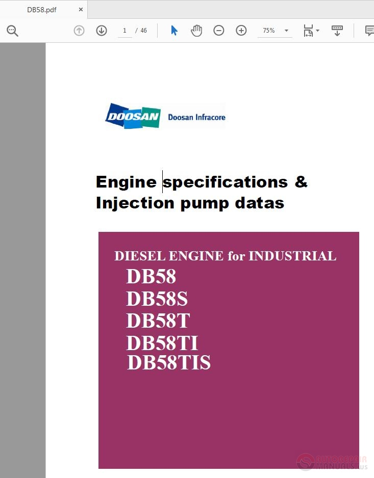 Doosan Diesel Engine DB58-DB58TIS Engine Specifications
