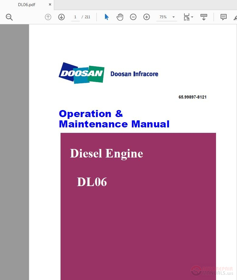 Doosan Infracore Diesel Engine DL06 PS-MMA0418-E1 Operation
