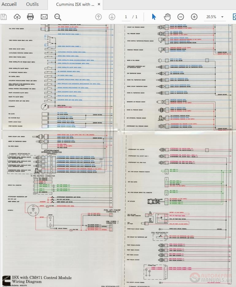Cummins Isx With Cm871 Control Module 4021575 Wiring Diagram