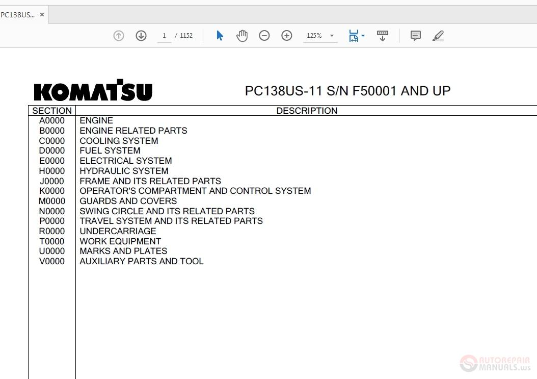 Komatsu PC138US-11 F50001 And Up Parts Manual | Auto Repair