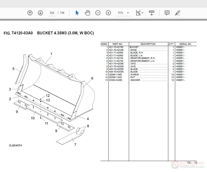Komatsu WA470-6 VZPB194602 Parts Manual | Auto Repair Manual ... on