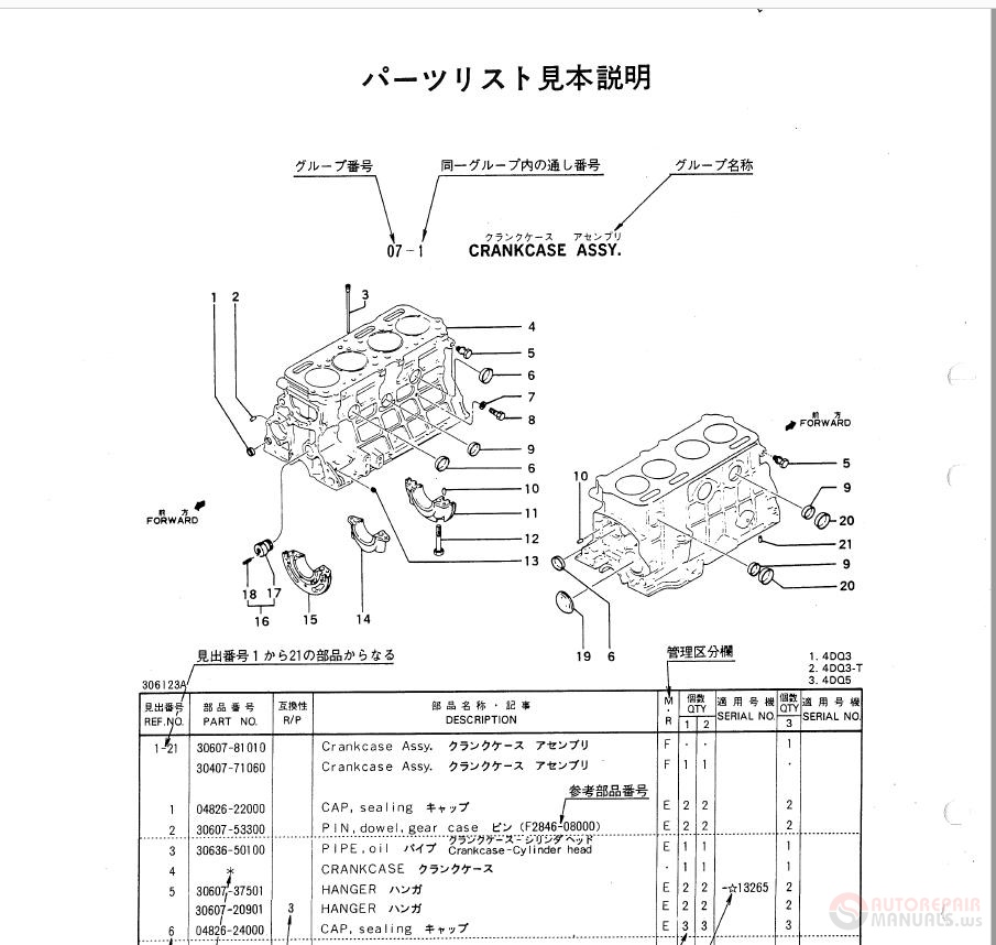 Mitsubishi Diesel Engines 4DQ3 4DQ3-T 4DQ5 03044-up 09658-up Parts