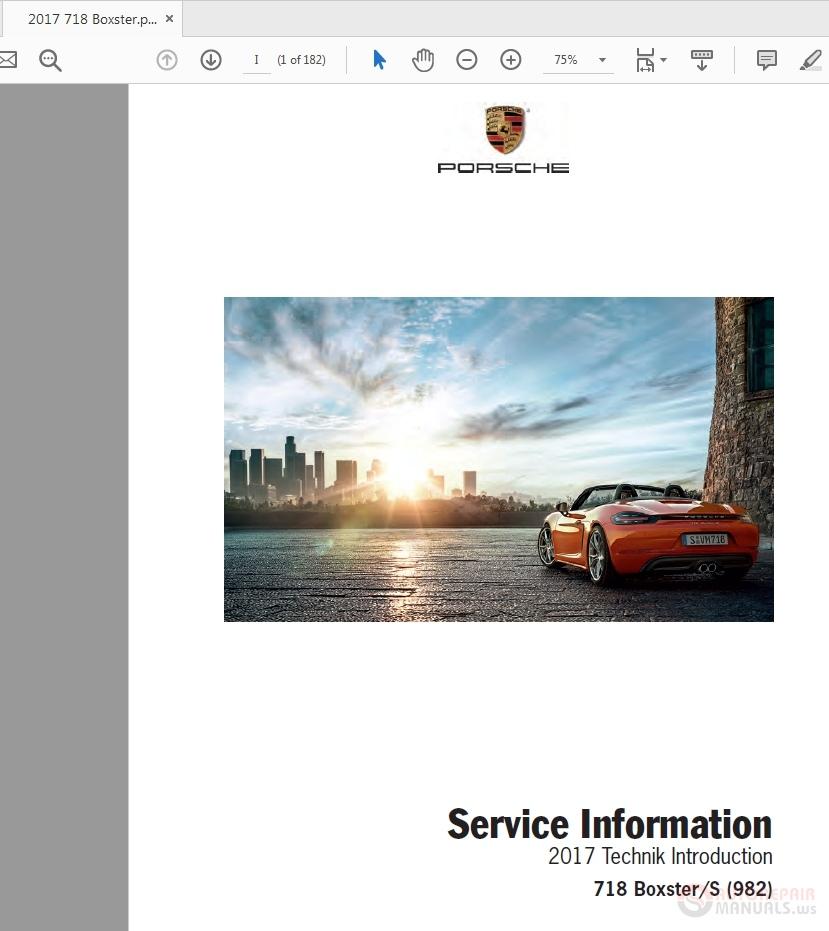 Porsche 718 Boxster 892  2017 Pna 718 001 17 Service Manual