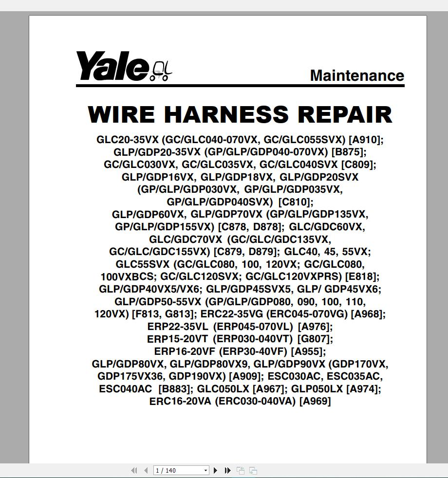 Arms  Yale Forklift Service Manuals  10 2018  Dvd