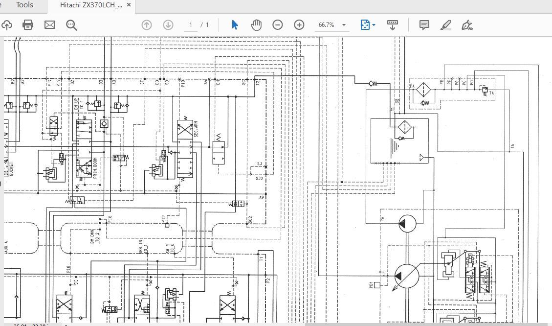Hitachi Zx370lch 400mth Gi Xc00004133 Hydraulic Circuit