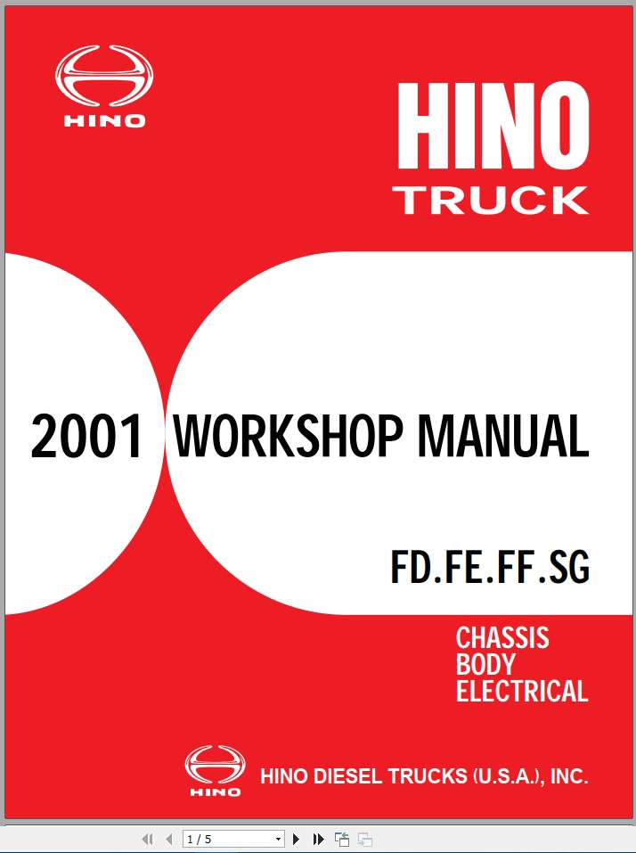 Hino Truck All Series Fd Fe Ff Sg 16 2 Workshop Manuals 2001 En