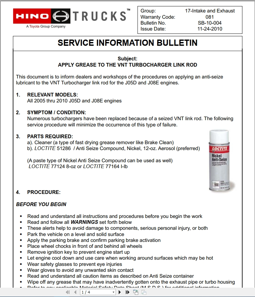Hino Truck All Series Technical Service Bulletins