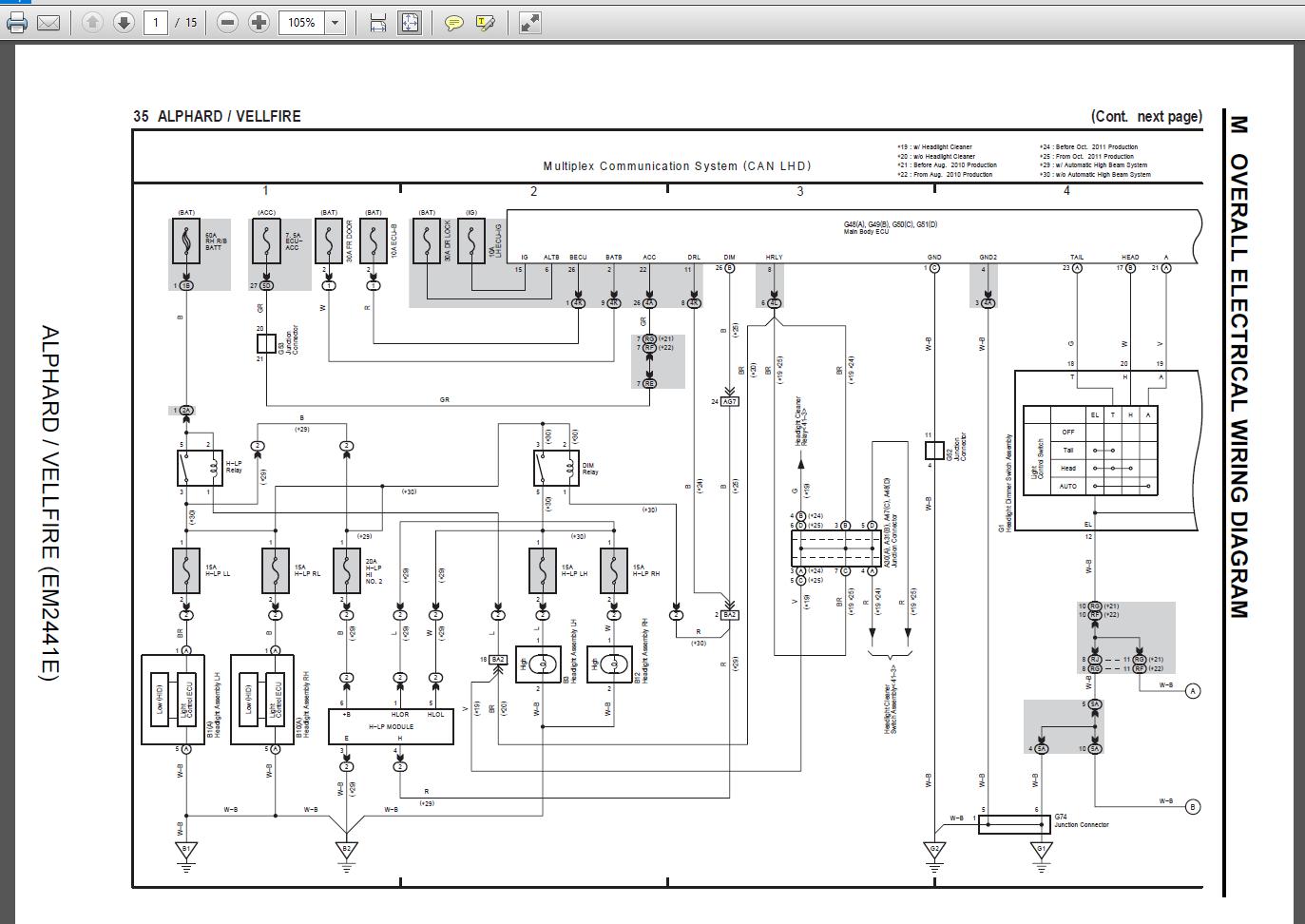 Toyota Alphard EM2441E 2014 Wiring Diagram   Auto Repair ...