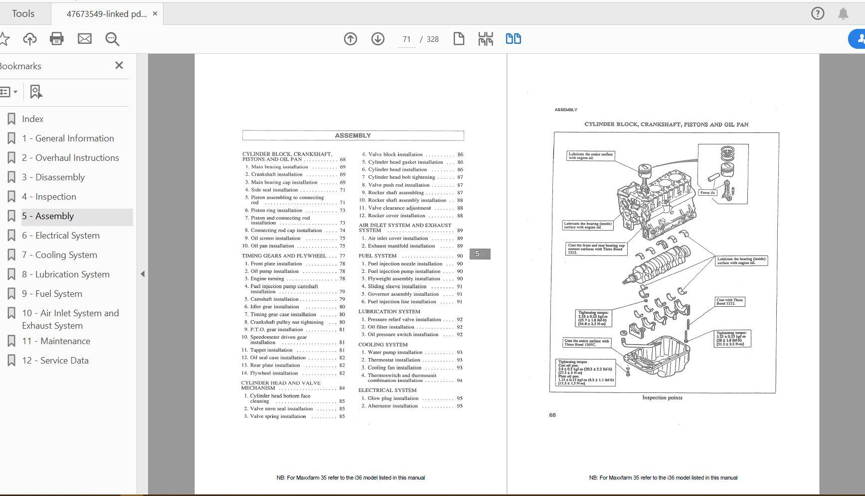 Case Ih Tractor Maxxfarm 35 Service Manual 47673549