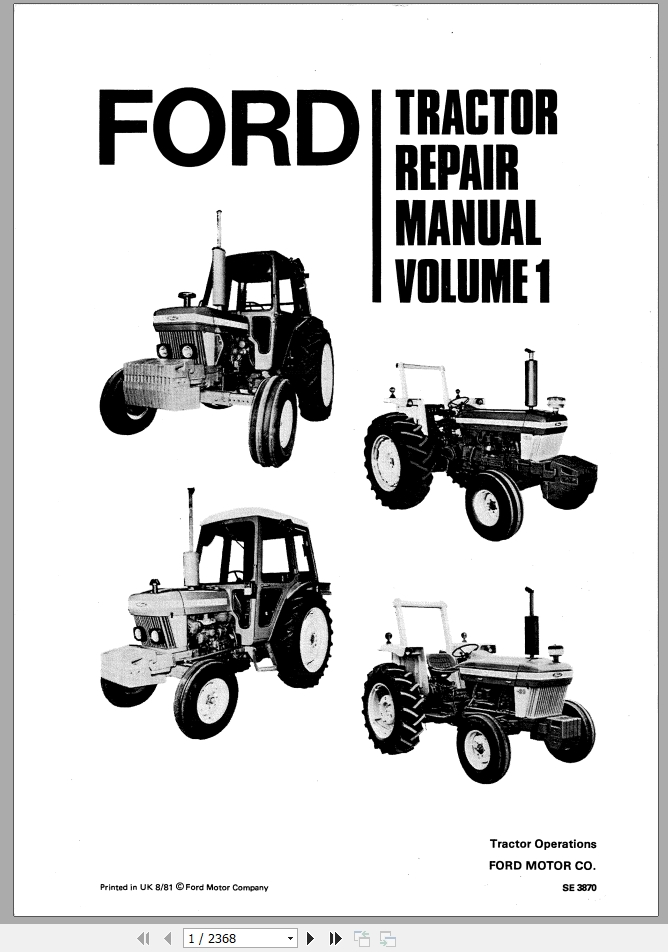 IT-S-FO47 Ford Tractor Service Manual Patio, Lawn & Garden Agricultural &  Construction MachineryDBS Radio