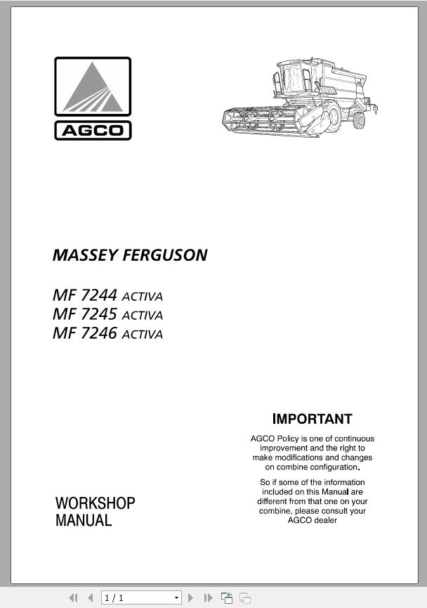 Massey Ferguson Combines Mf 7244 7245 7246 Activa Workshop Manual Auto Repair Manual Forum Heavy Equipment Forums Download Repair Workshop Manual