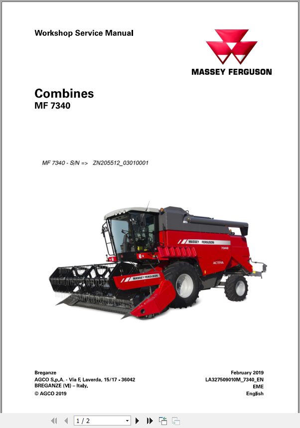 Massey Ferguson Combines Mf 7340 Wsm Workshop Service Manual 2019 Auto Repair Manual Forum Heavy Equipment Forums Download Repair Workshop Manual