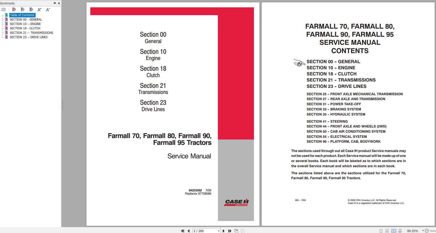 Case Tractor Farmall 70 80 90 95 Service Manual