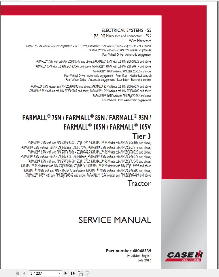 Case Tractor Farmall 75 85 95 105 N V Tier 3 Service
