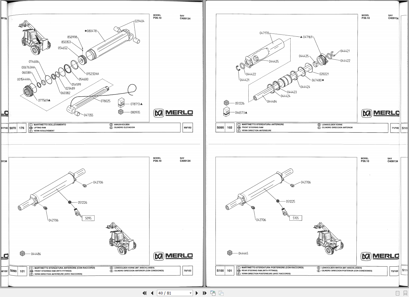 Merlo Telescopic Handler P39 P40 P60 Cdc Part Manual  U0026 Wiring Diagram