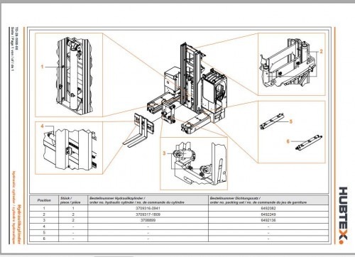 Hubtex Forklift MQ 80 2131 PU Operating Instructions and Spare Parts List DE 3