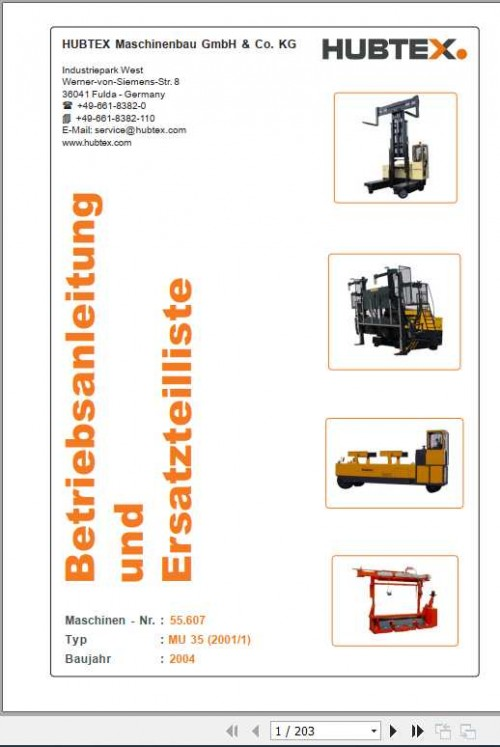 Hubtex Forklift MU 35 Operating Instructions and Spare Parts List DE 1