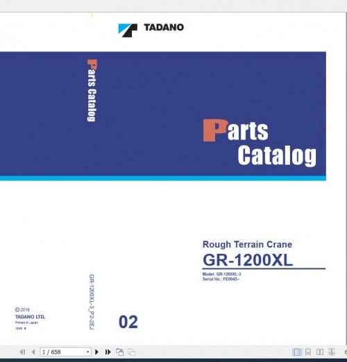 Tadano Rough Terrain Crane GR 1200XL 3 P2 2EJ Parts Catalog EN+JP 1