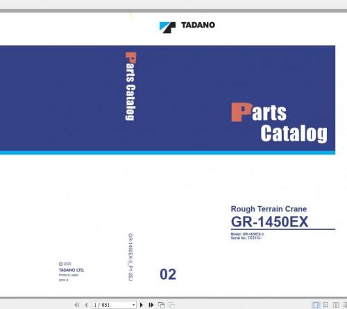 Tadano Rough Terrain Crane GR 1450EX 3 P1 2EJ Parts Catalog EN+JP 1