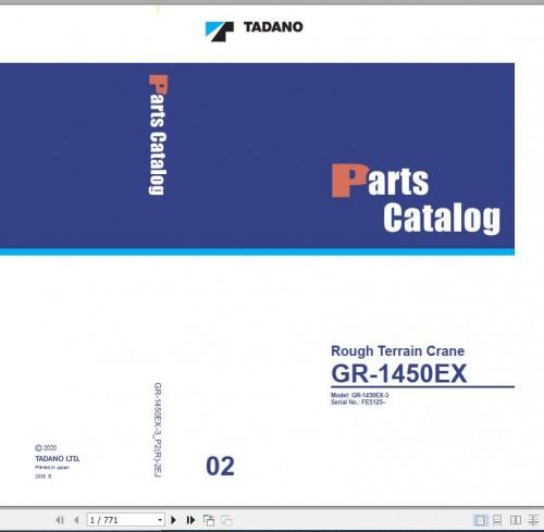 Tadano Rough Terrain Crane GR 1450EX 3 P2(R) 2EJ Parts Catalog EN+JP 1