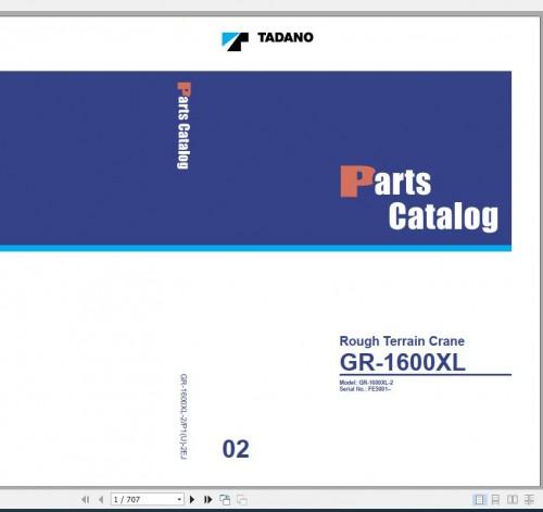 Tadano Rough Terrain Crane GR 1600XL 2 P1(U) 2EJ Parts Catalog EN+JP 1