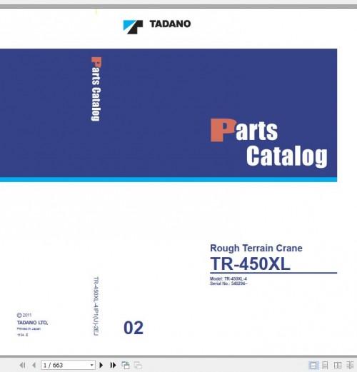 Tadano Rough Terrain Crane TR 450XL 4 P1(U) 2EJ Parts Catalog EN+JP 1