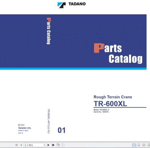 Tadano Rough Terrain Crane TR 600XL 4 P1(U) 1EJ Parts Catalog EN+JP 1
